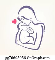 Mother Baby Clip Art.