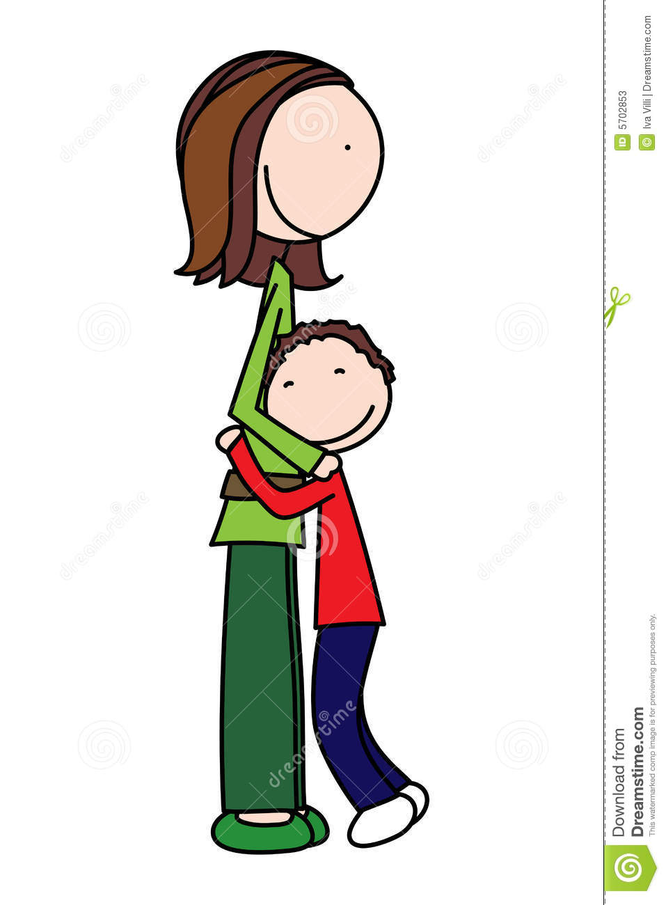 Mother Hugging Son Clipart.