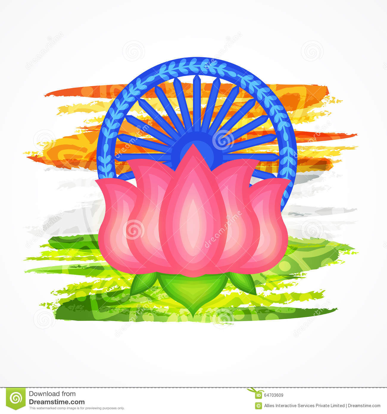 Indian National Flower Lotus For Republic Day. Stock Illustration.