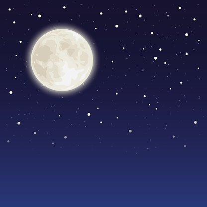 Night sky with full moon and stars. Vector illustration.