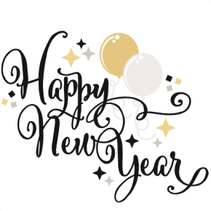 Happy New Year SVG scrapbook title balloons svg cut files.