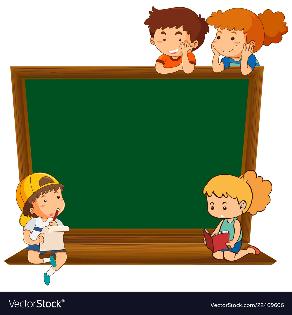 Children on blank chalkboard.