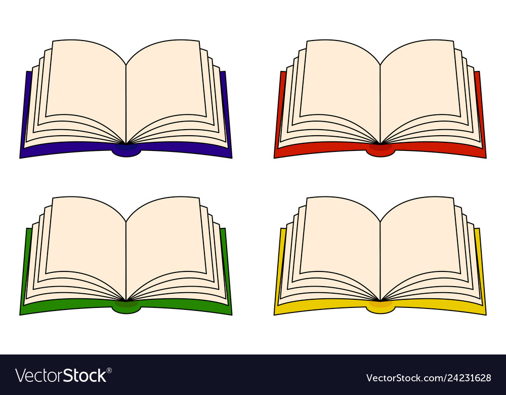 Open book clipart set symbol icon design isolated.