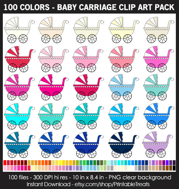 100 Colors Baby Carriage Clipart Pack.