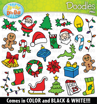 Christmas Doodles Clipart Set {Zip.