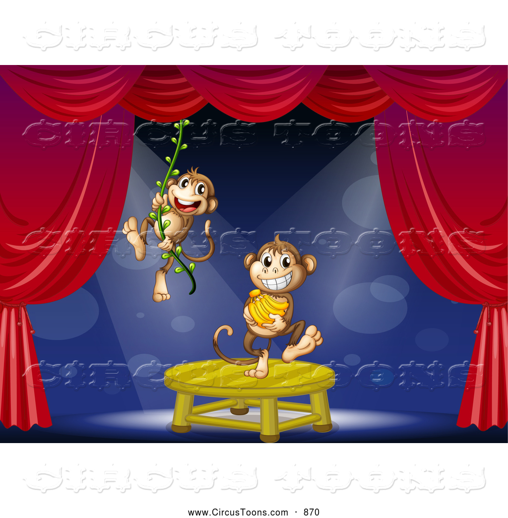 Circus Clipart of a Pair of Monkeys Swinging on a Vine and.