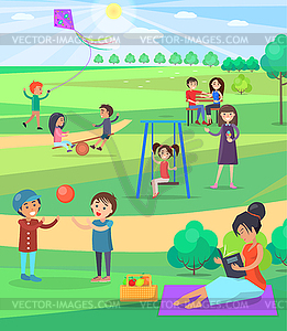 People Relaxing Outdoor in Park Colorful Poster.