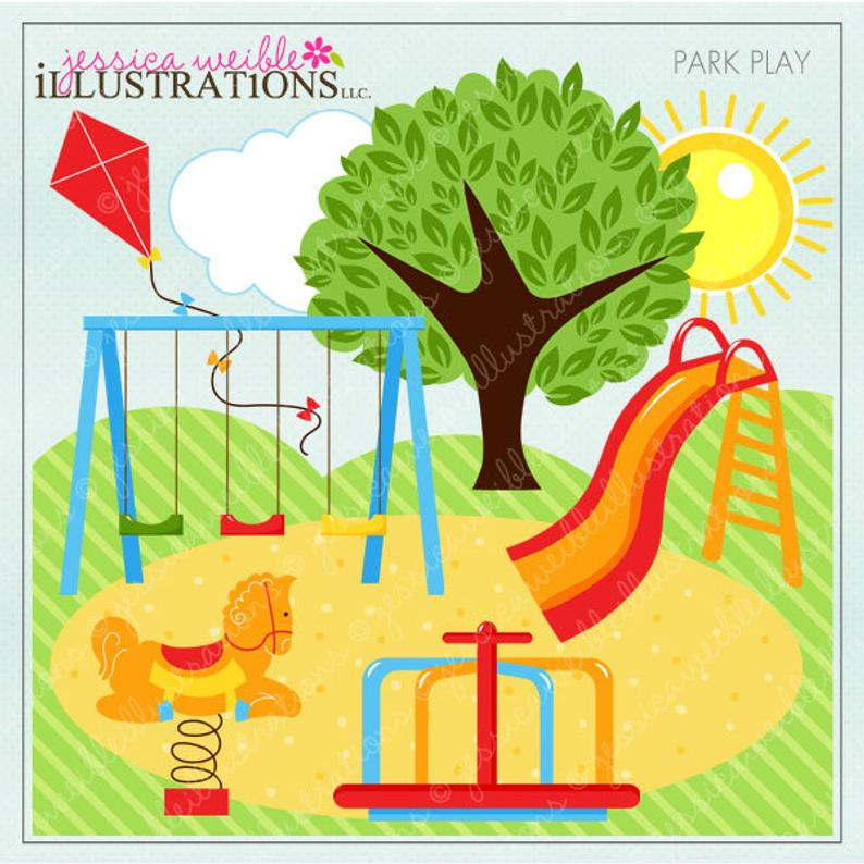 Park Play Cute Digital Clipart for Invitations, Card Design, Scrapbooking,  and Web Design, Park Clipart.