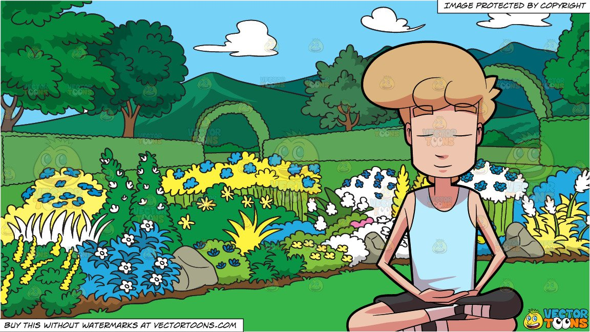 A Man Looking Peaceful While Meditating and A Majestic Garden Background.