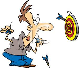 Clip Art Image: A Man Concentrating on His Game of Darts.