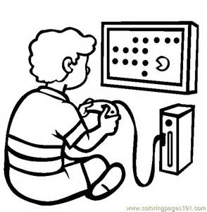Playing Video Games Black And White Clipart.