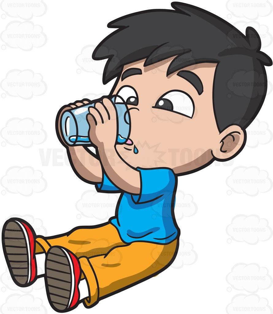 Boy Drinking Water Clipart.