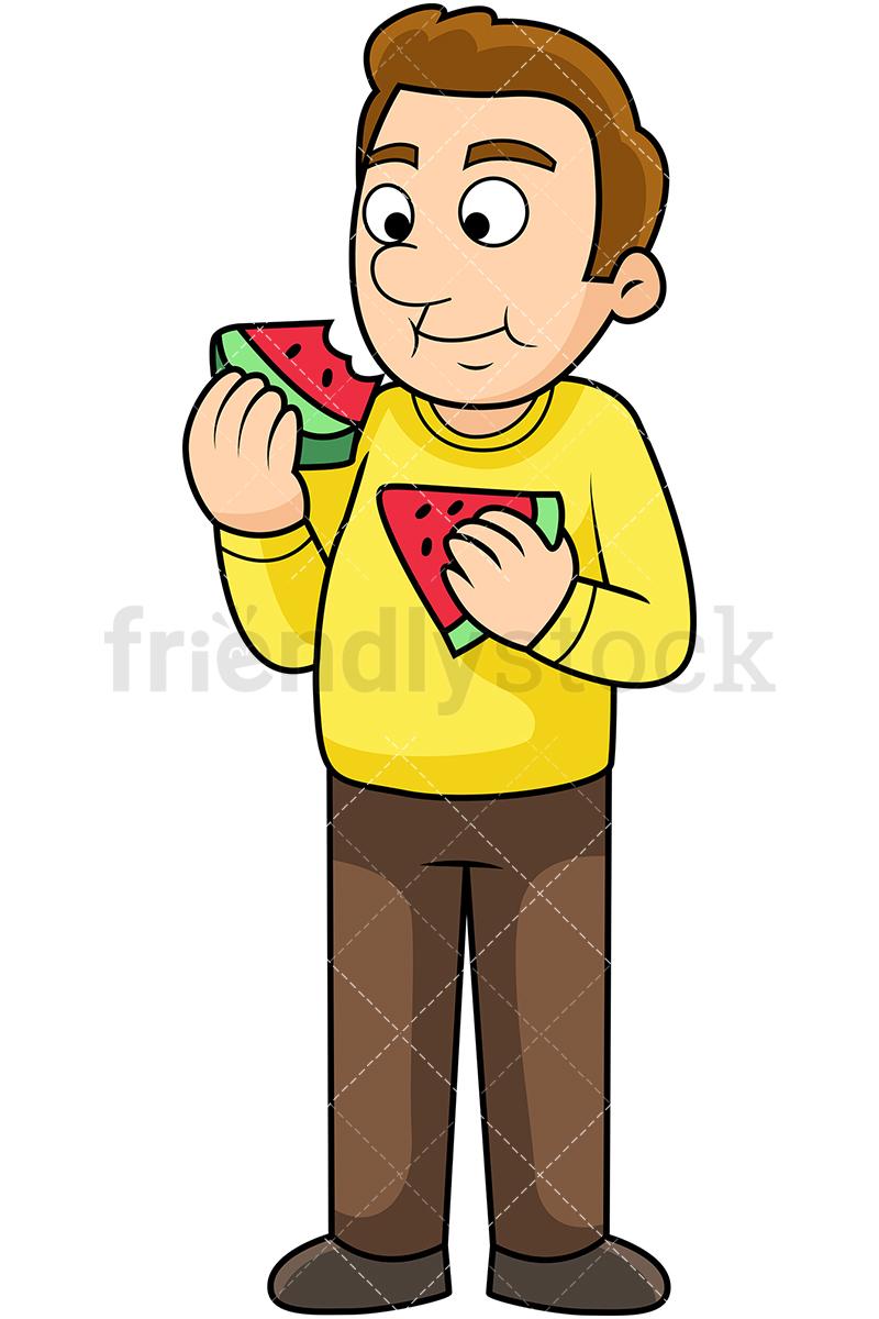 Man Eating Watermelon Cartoon Vector Clipart.