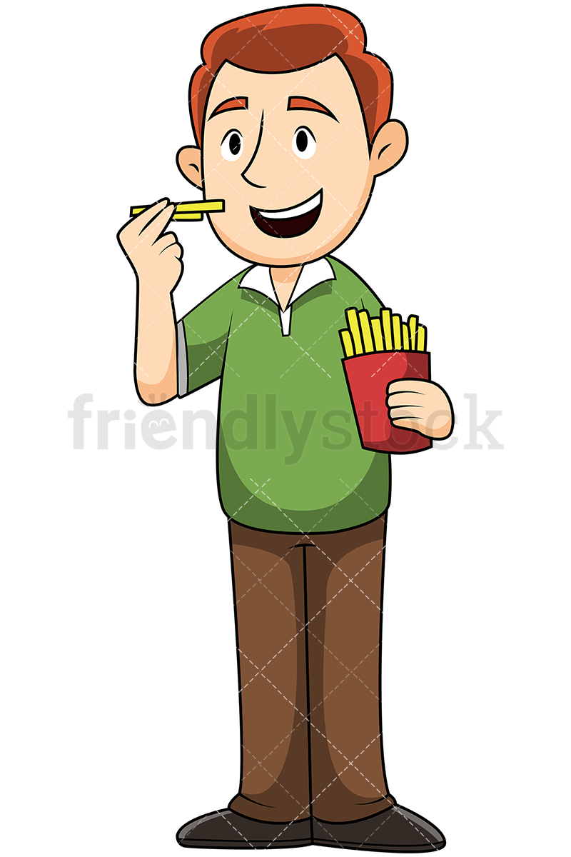 Man Eating French Fries.