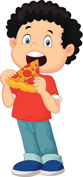 Person eating pizza clipart.