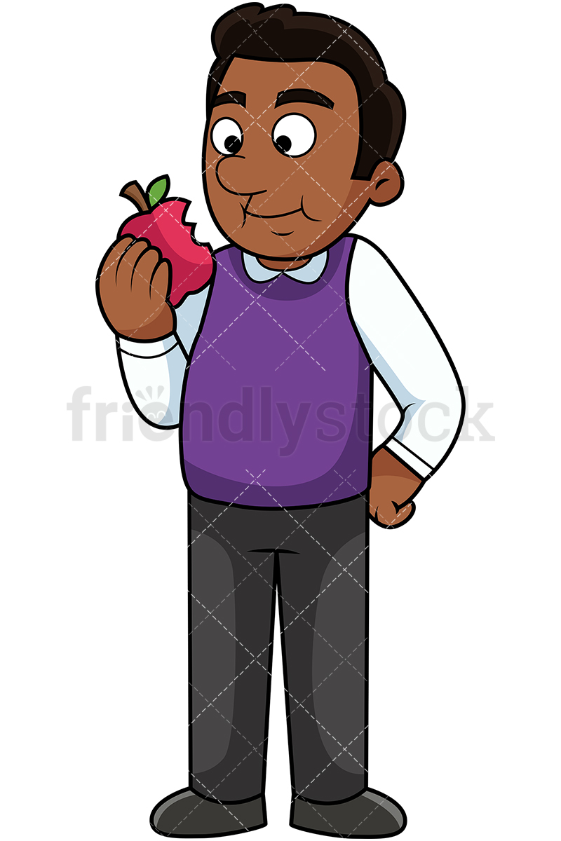 Black Man Eating Apple.