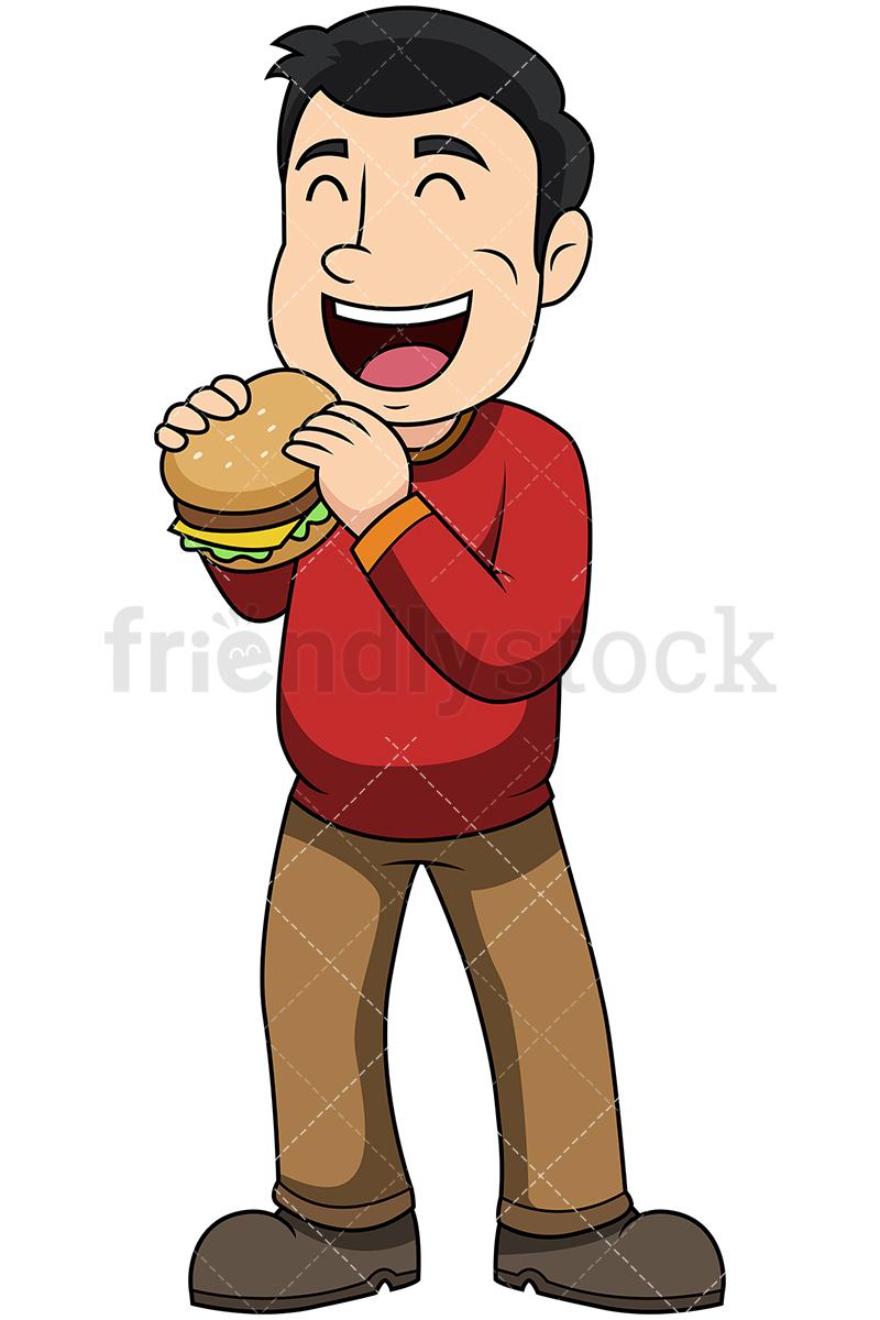 Man Eating Hamburger Vector Cartoon Clipart.