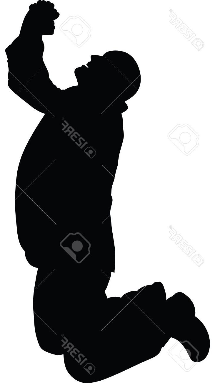 Unique Silhouette Of Man On His Knees Clipart Drawing.
