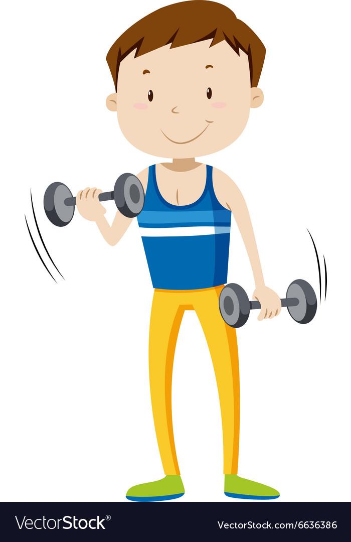 Strong man lifting weights.