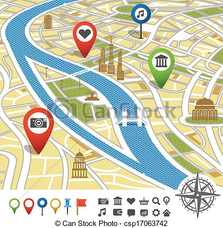 EPS Vector of Abstract city map with places of interest.