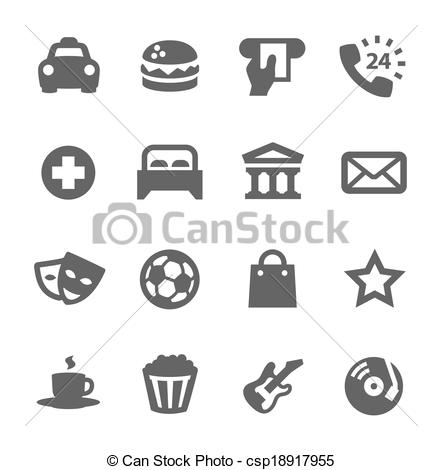 Clipart Vector of Points of interest. Different places icons.