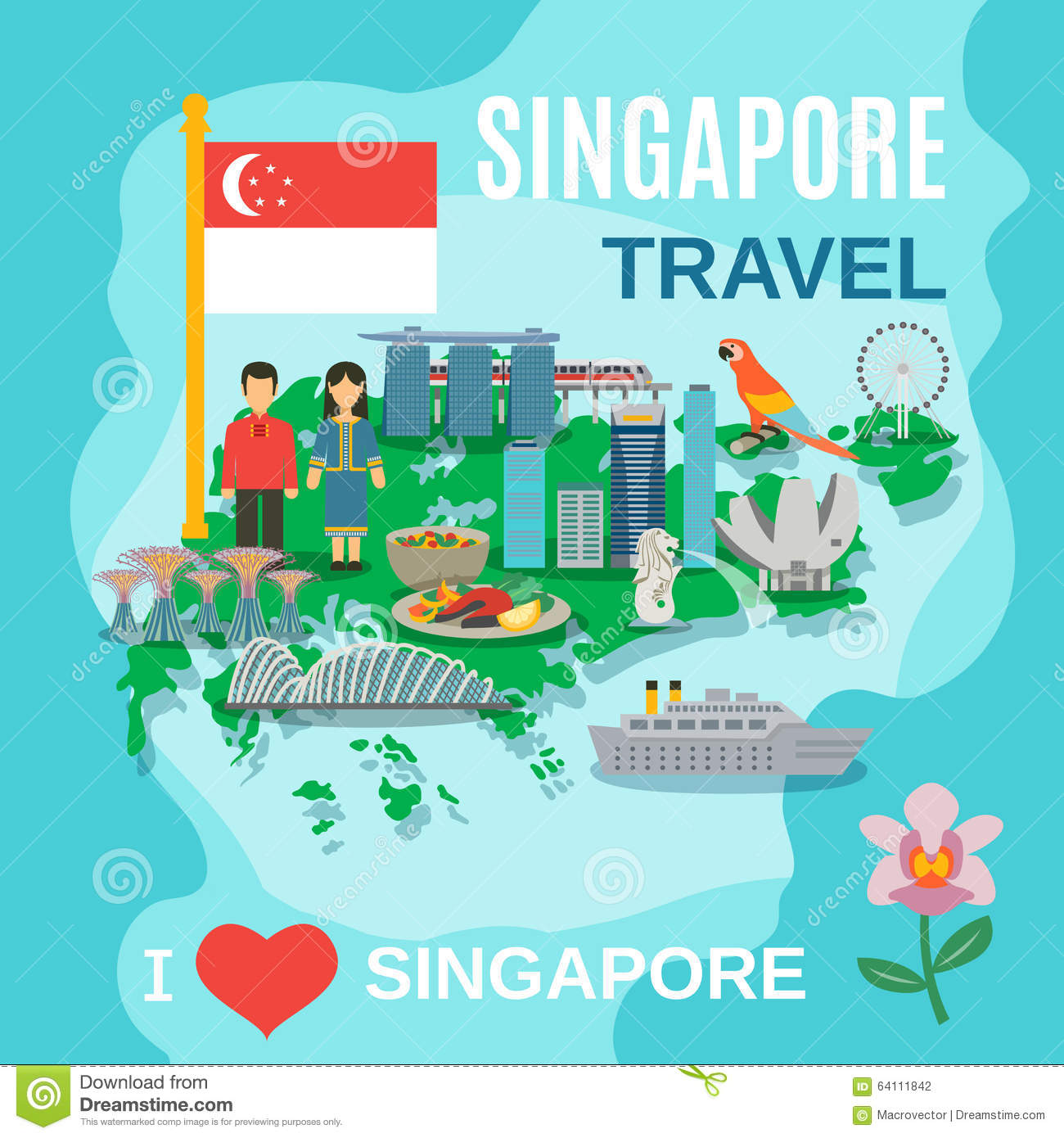 Singapore Travel National Symbols Poster Stock Vector.