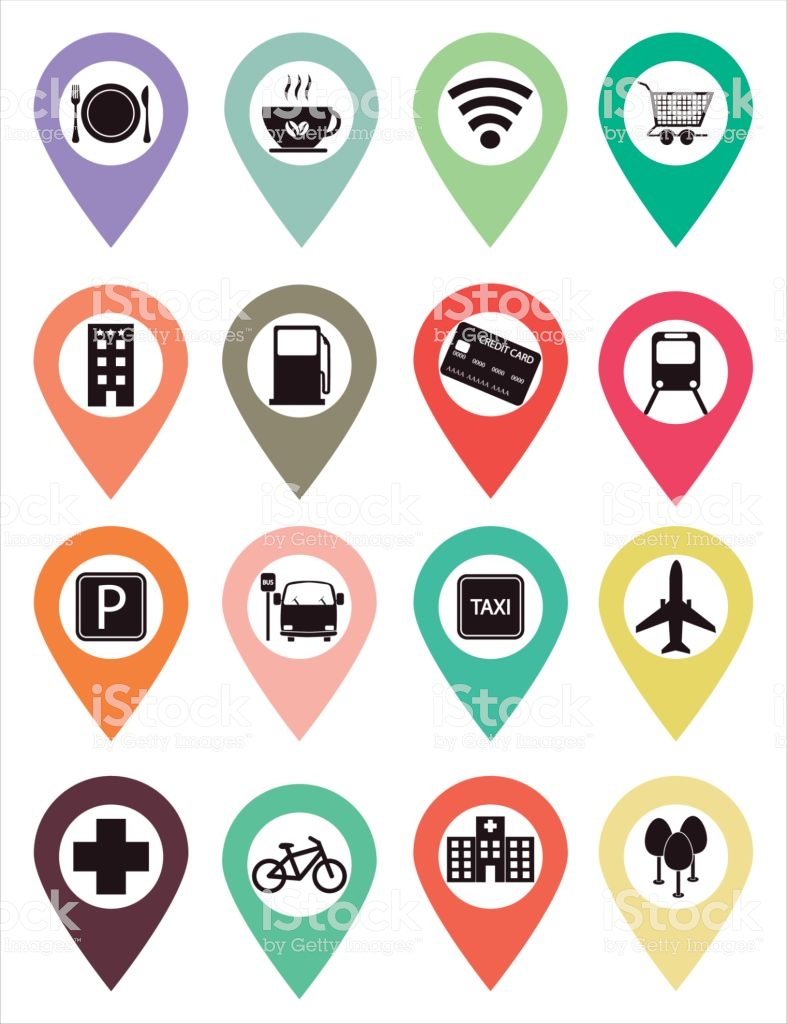 Points Of Interest Icons Stock Vector Art & More Images of Airport.