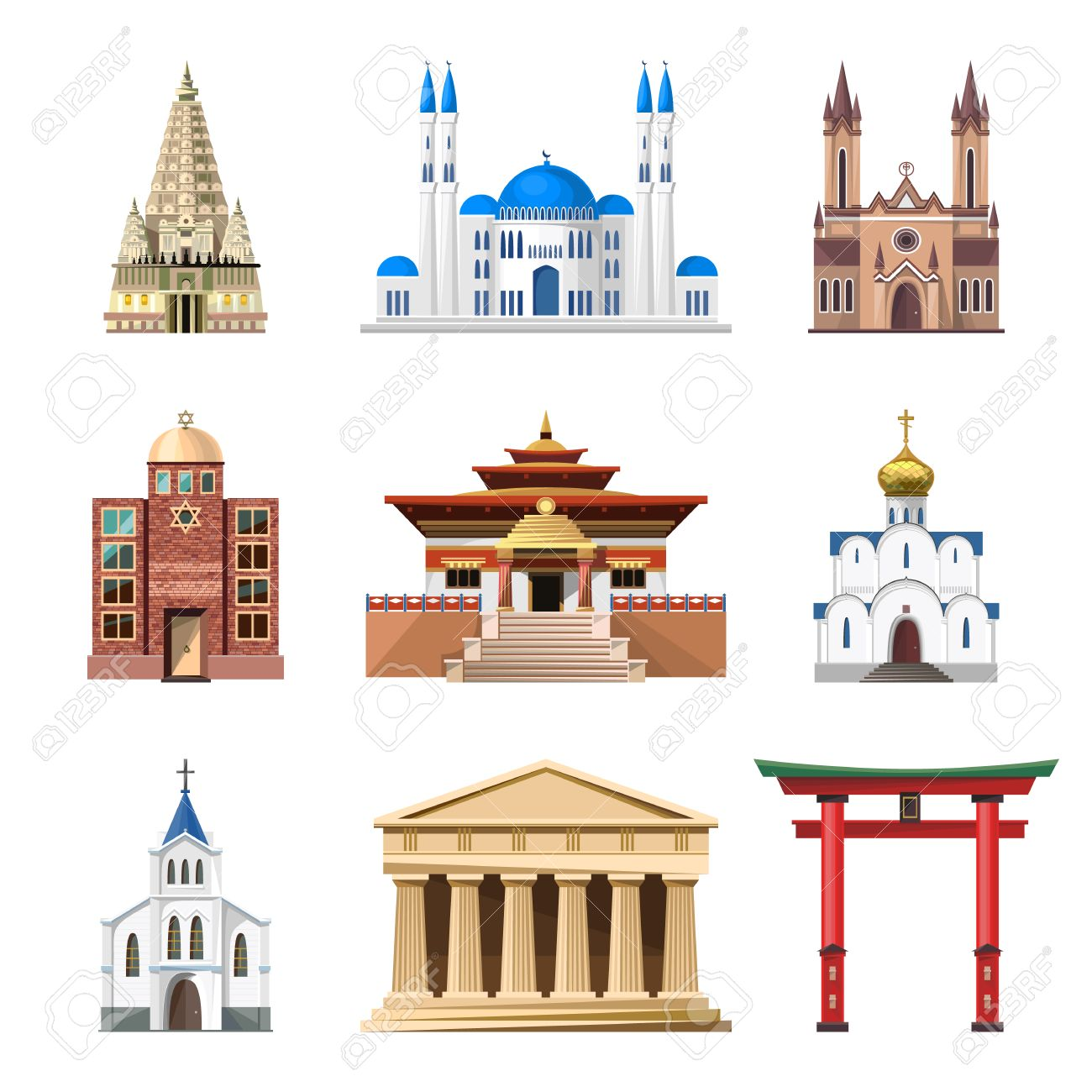Cathedrals, Churches And Mosques Vector Building Set. Collection.