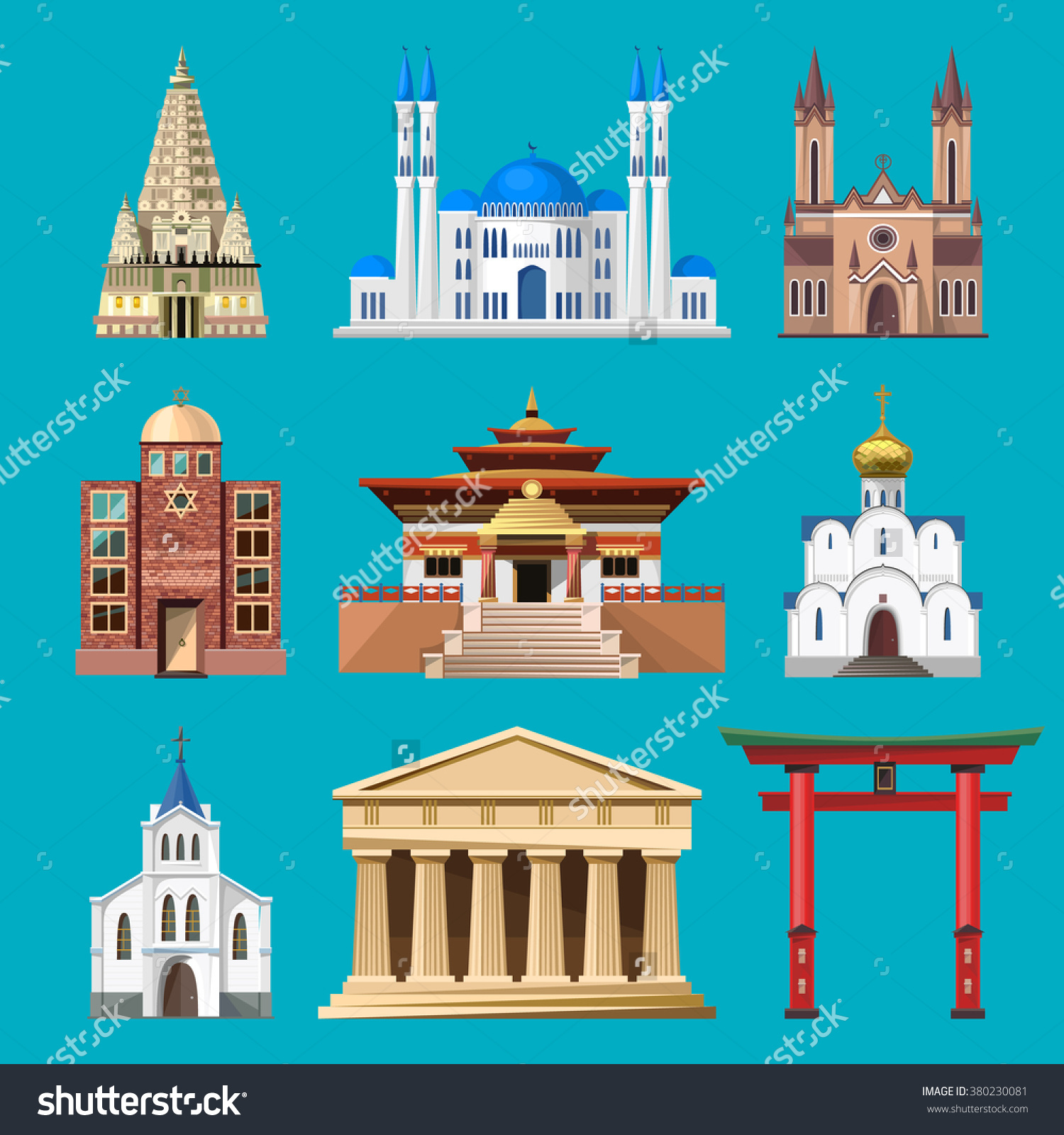 Cathedrals Churches Mosques Vector Building Set Stock Vector.
