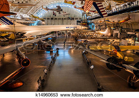 Stock Photo of Airplanes in the Air and Space Museum Udvar.