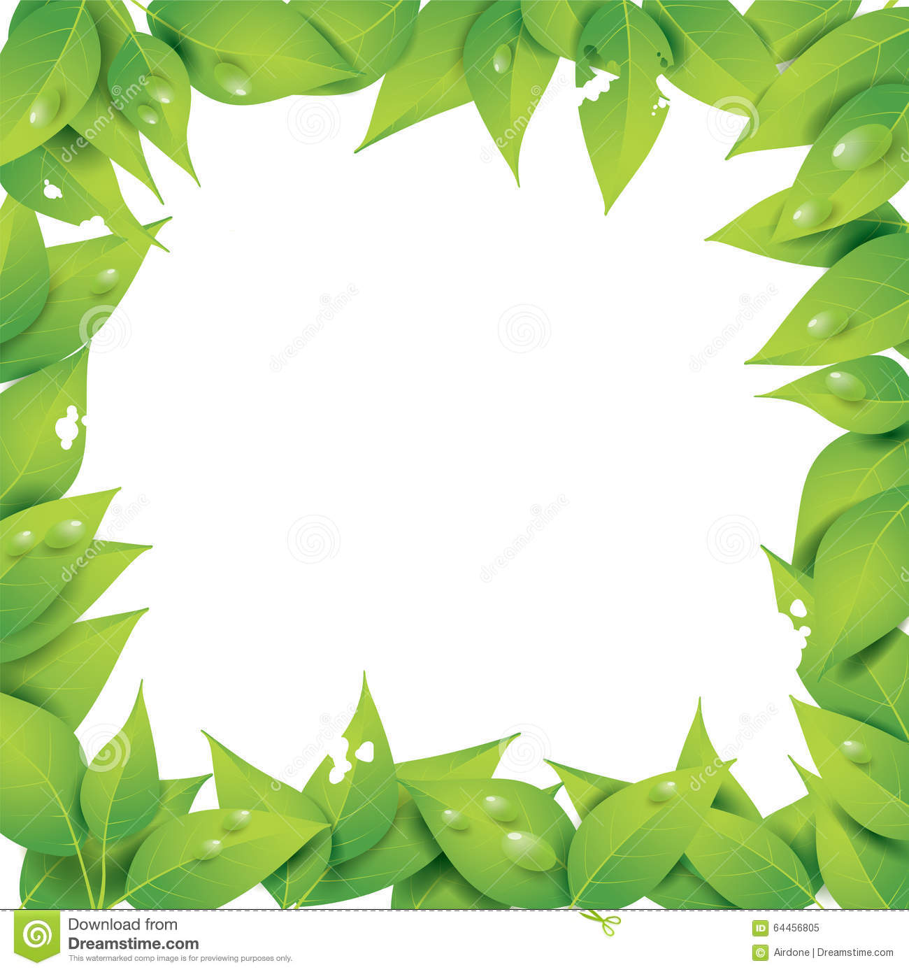 Frame Of Leaves With Empty Space In The Middle Stock Vector.