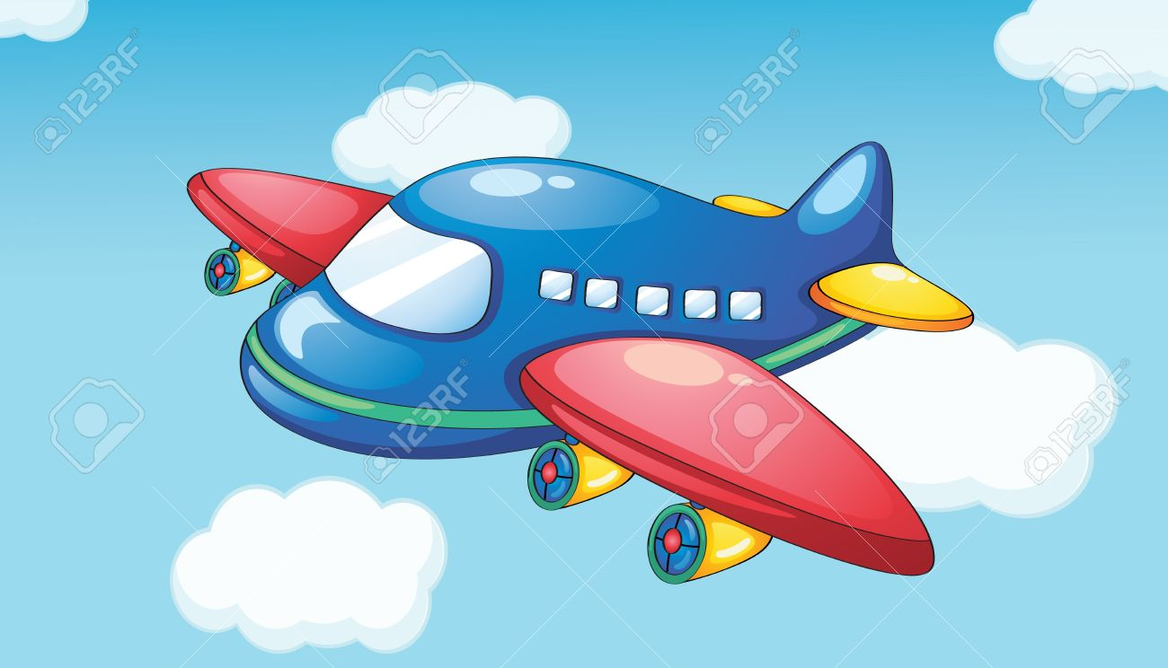 Illustration Of A Plane In Blue Sky Royalty Free Cliparts, Vectors.