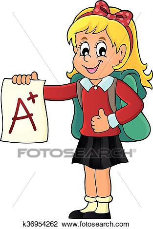 School girl with A plus grade theme 1 Clipart.