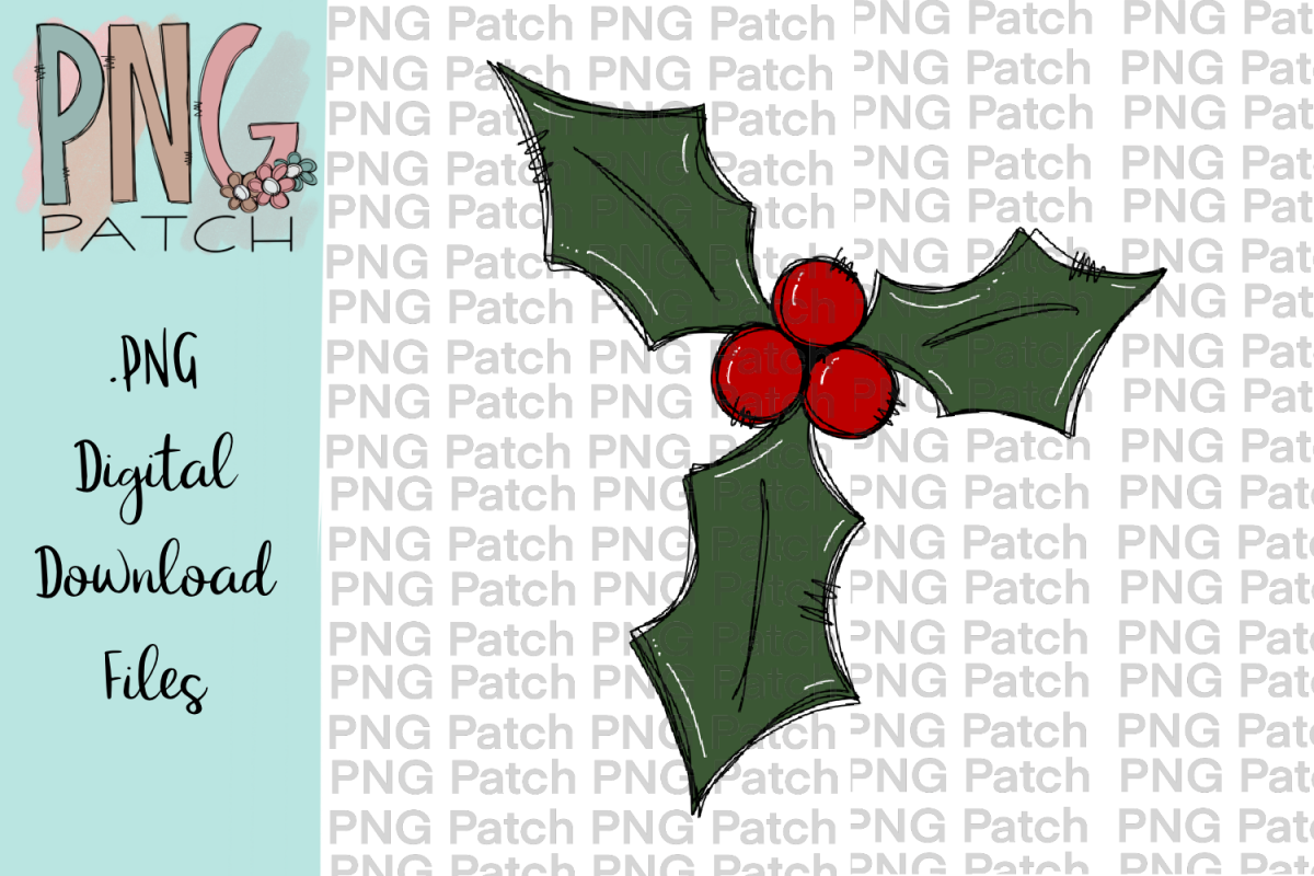 Holly Berry, Christmas PNG File, Holiday Sublimation Design.