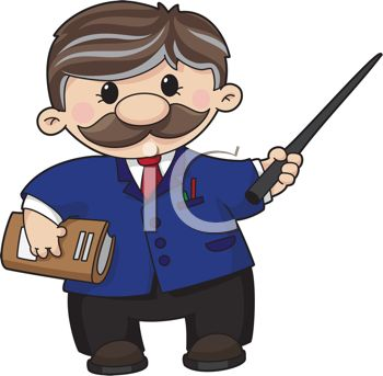 Professor with a Mustache Holding a Pointer.