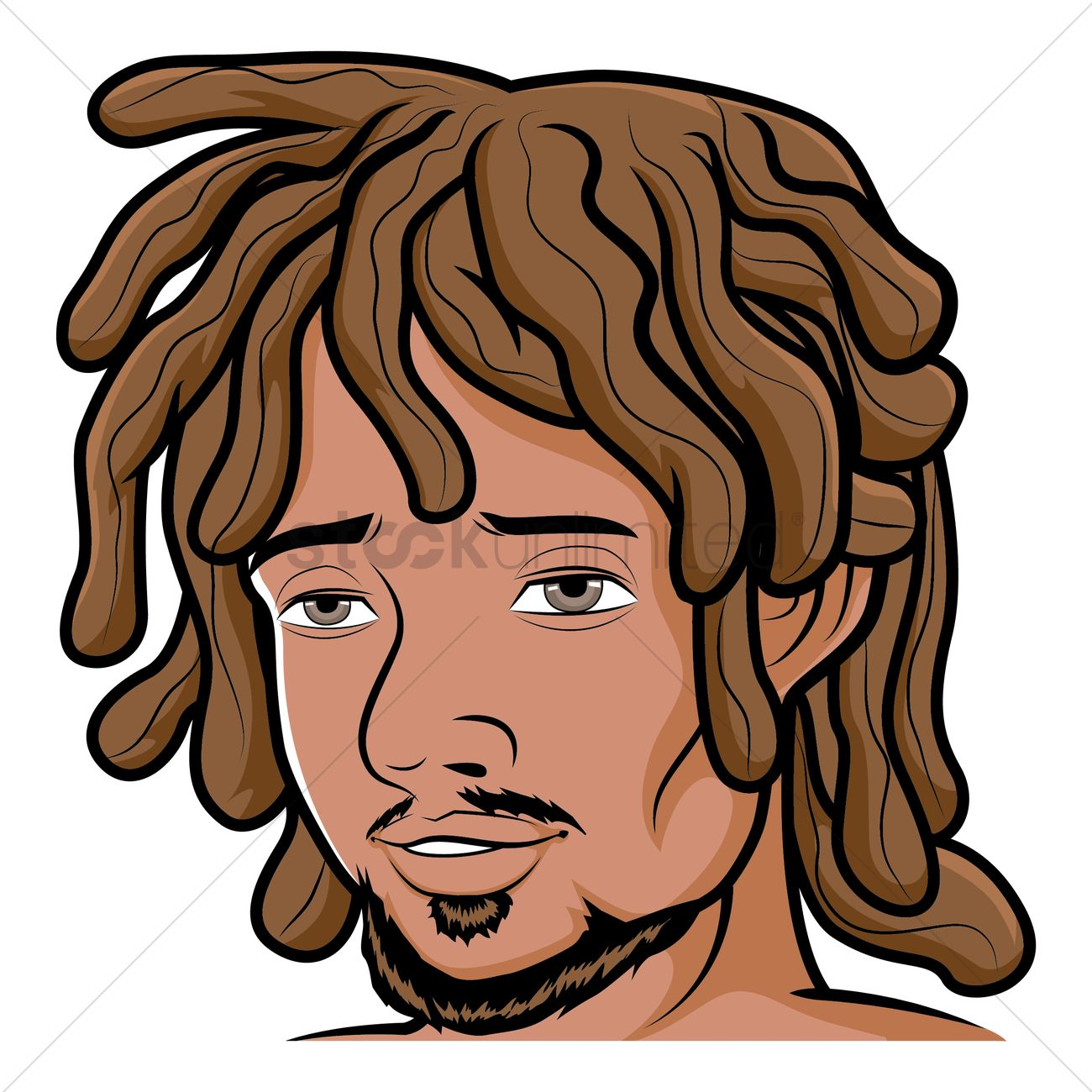 Man with dreadlocks Vector Image.