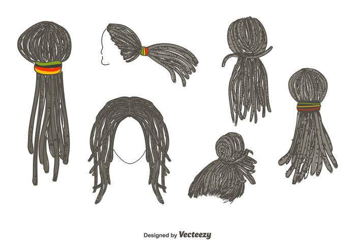 Dreadlocks Hairstyle Vector.