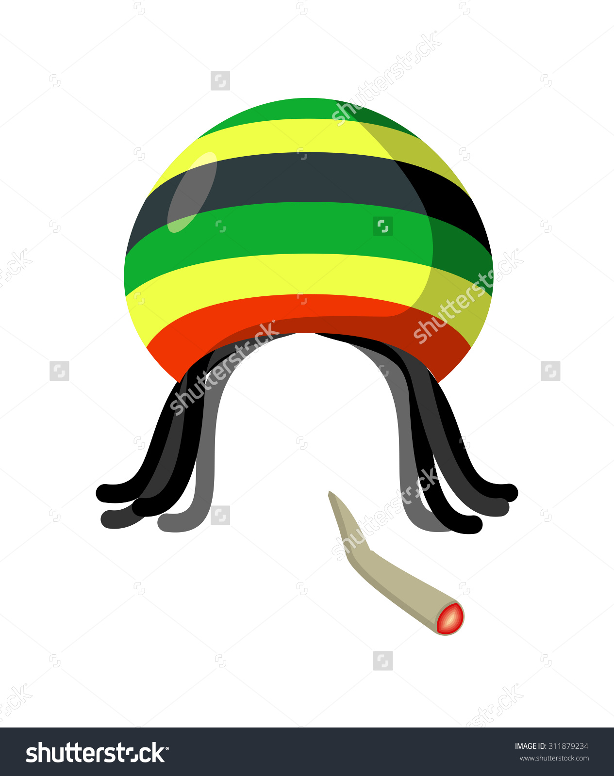Rasta Cap Dreadlocks On White Background Stock Vector 311879234.
