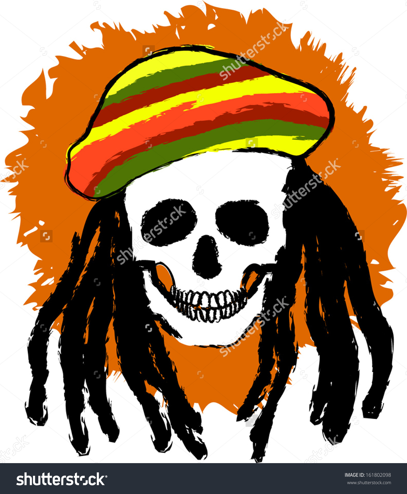 Dreadlocks Skull Rastacap Eps 10 Stock Vector 161802098.