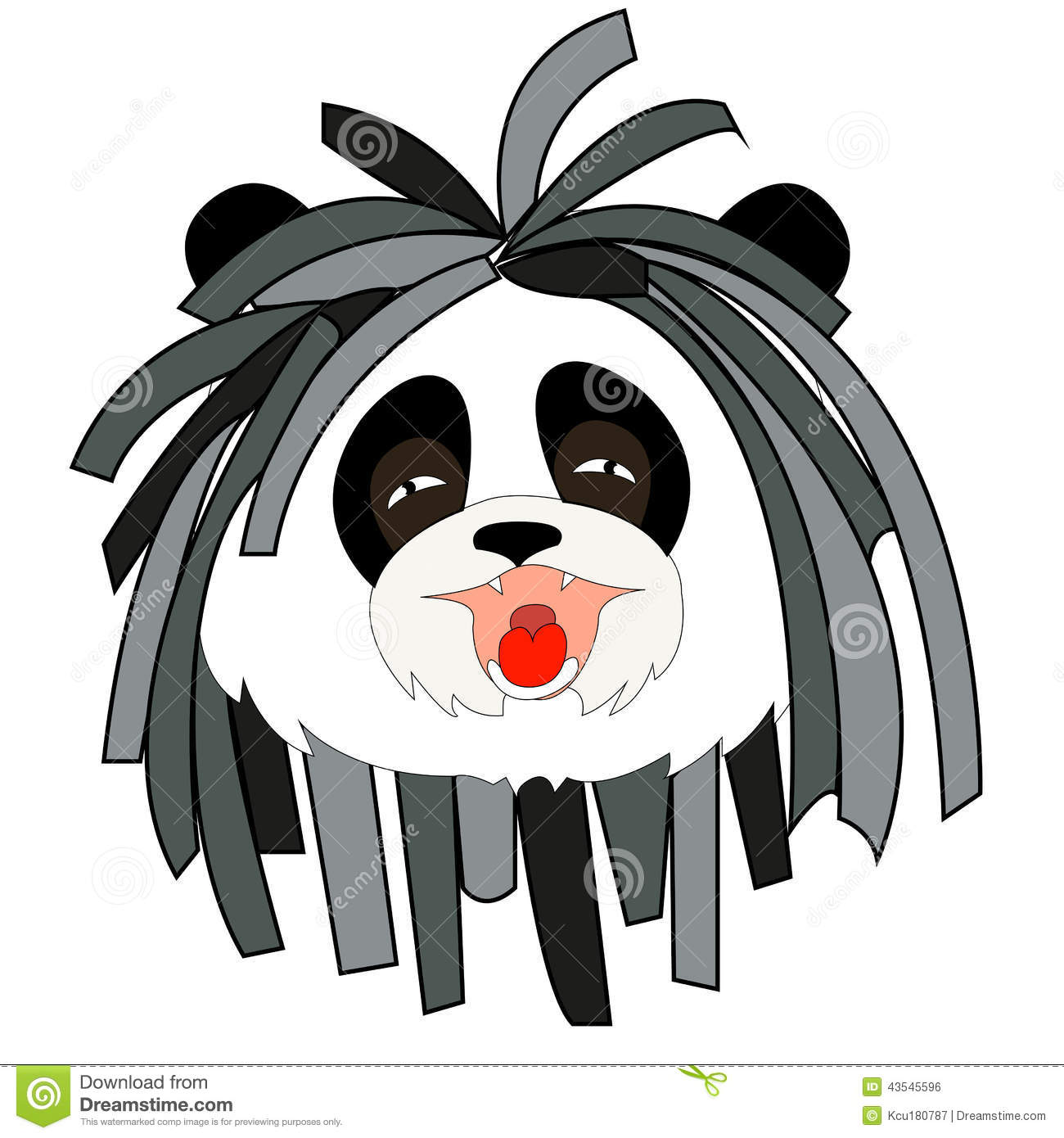 Panda With Dreadlocks Stock Illustration.
