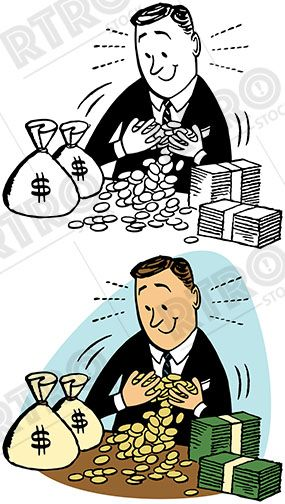 A rich man enjoys his stacks of money and coins vintage.