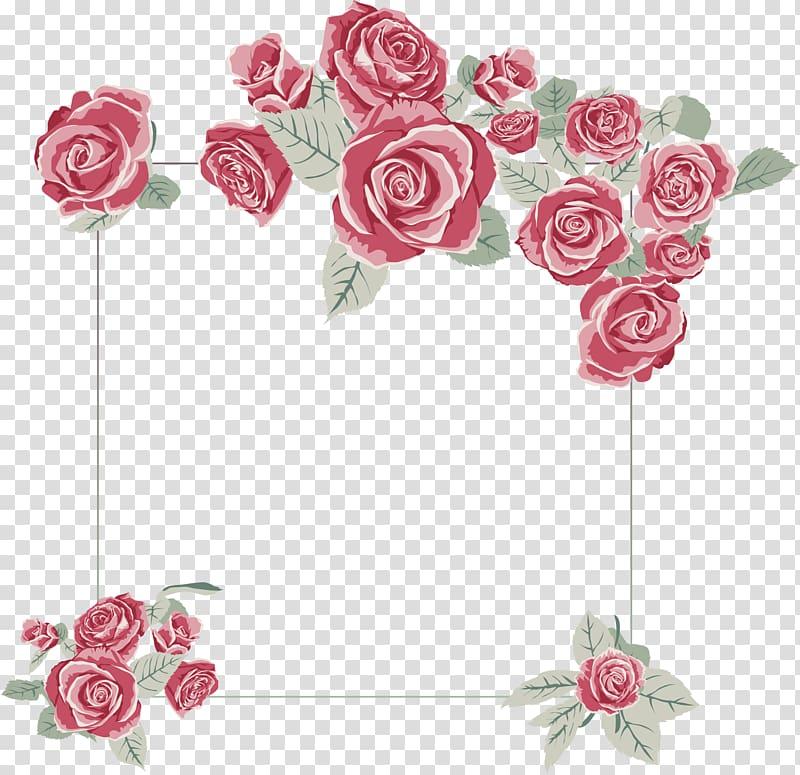Red rose floral border frame , Wedding invitation Rose.