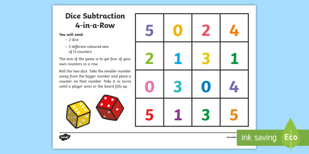 Four in a Row Dice Subtraction Game.