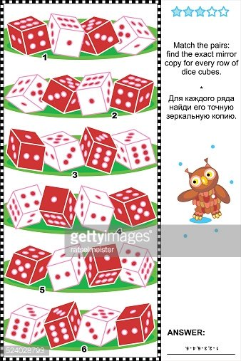 Visual Puzzle With Rows of Dice Cubes premium clipart.