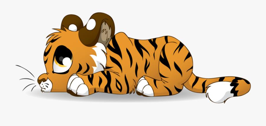 Sad Tiger Cub Cartoon , Free Transparent Clipart.