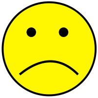 Yellow sad face clipart.