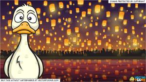 A Sad Duck and Flying Paper Lanterns At Diwali Festival Background.