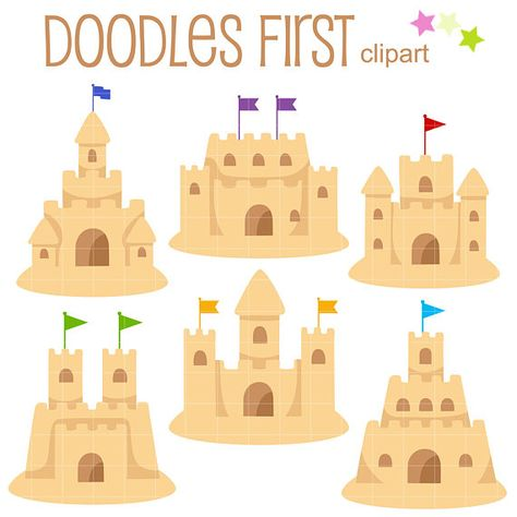 Sand Castles Clip Art for Scrapbooking Card Making Cupcake.