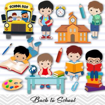 Digital Back to School Clip Art, School Boy Clip Art, Back to School Boy  Clipart.