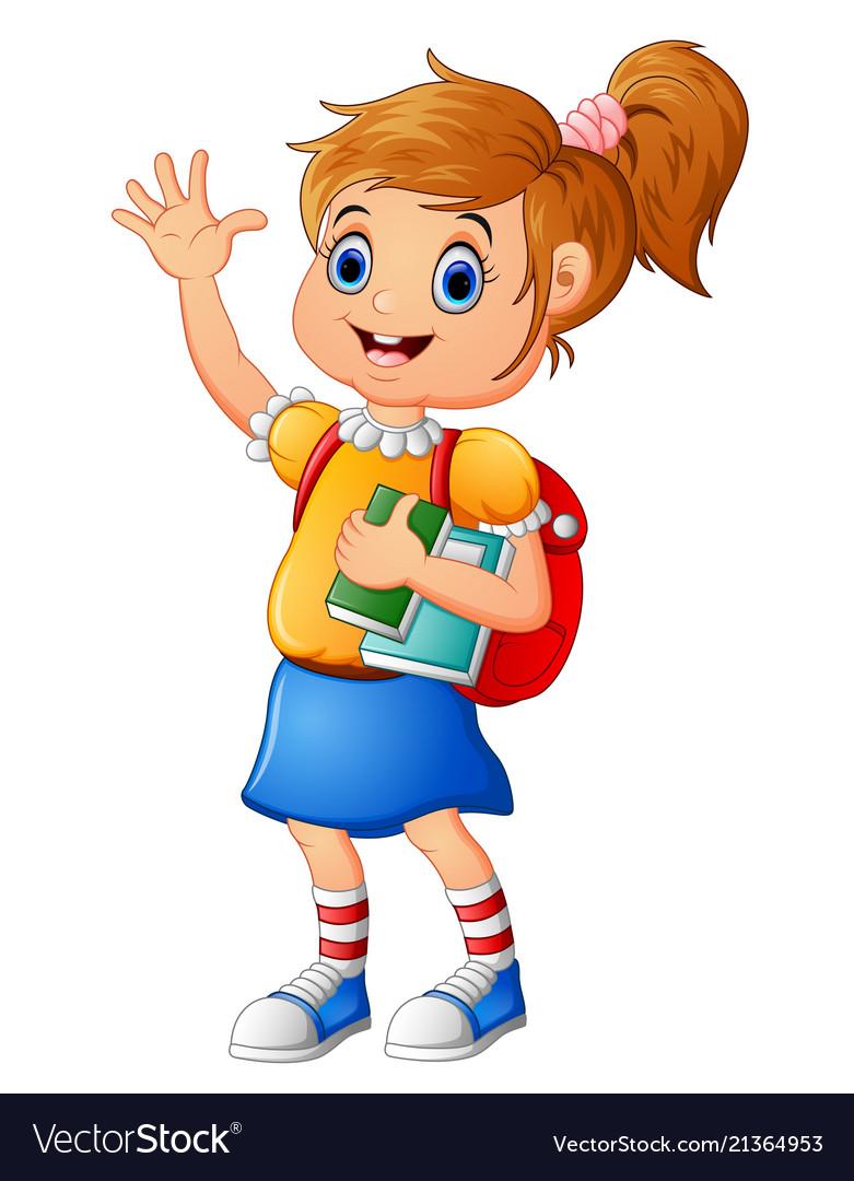 School girl waving hand.